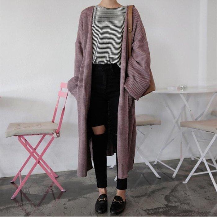 女裝韓版中長款寬鬆純色毛衣開衫慵懶風長袖針織衫上衣外套潮