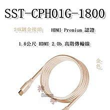 【神宇】銀欣 SilverStone SST-CPH01G-1800 金色 4K、VR、藍光 HDMI 2.0b 高階傳輸線