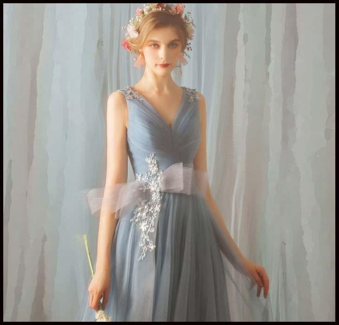 哆啦本鋪 天使的嫁衣 淑女范兒 優雅霧霾藍生日晚宴年會演出禮服伴娘服D655
