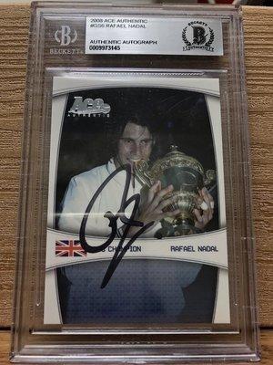 超級稀有 2008 ACE AUTHENTIC RAFAEL NADAL 2008溫布頓冠軍卡面親簽BGS鑑定卡