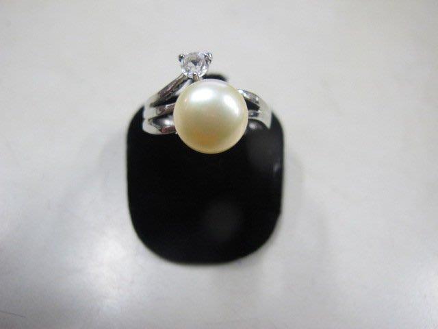二手舖 NO.3980 天然珍珠 鑲鑽造型戒指 首飾飾品 全新