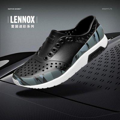 *永和正品簽約*Native LENNOX 雷諾系列 懶人鞋  晴雨兩穿 防水 黑迷彩 男女尺寸