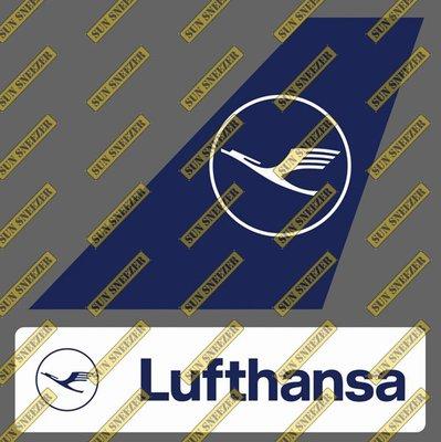 漢莎航空 Lufthansa 垂直尾翼與機身商標 貼紙  尺寸上63x86mm 下 23x90mm