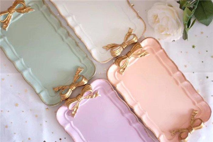 柒月茶花╭*輕。雜貨。莓夏 甜美質感復古蝴蝶結長方型 首飾收納盤 四色可選