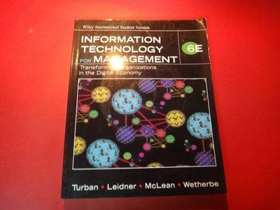 【愛悅二手書坊 22-10】Information Technology for Management 6E