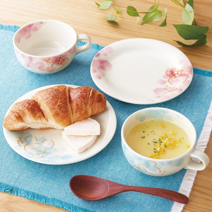 迪士尼Disney《預購》米奇米妮 花卉系列 湯碗 餐盤 4件組 餐具組~日本製~可微波~心心小舖
