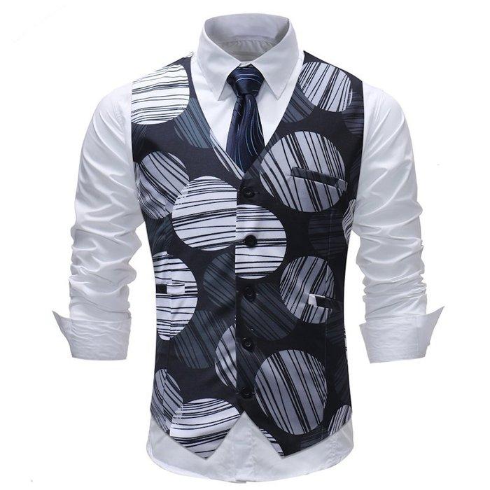 『潮范』 S7 新款外貿休閒幾何圖案背心 男士西裝開襟背心 正裝婚禮馬甲 條紋背心NRG1594