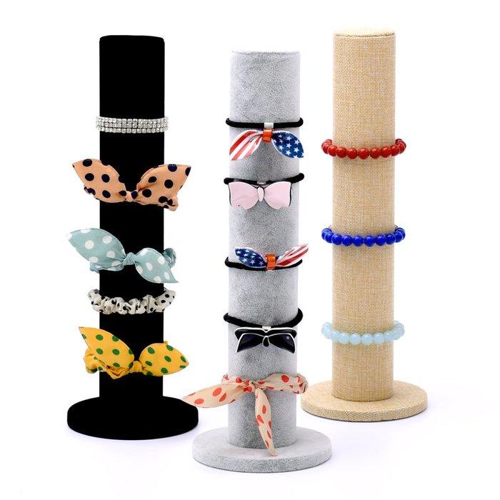 聚吉小屋 #頭花頭飾展示架手鐲手表架冰花絨布朝天柱首飾架飾品展示道具