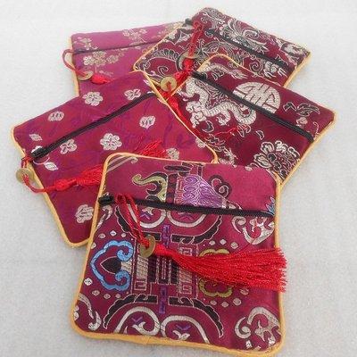 「還願佛牌」 紅 綠 藍 拉鍊 絲綢 零錢包 錦袋  錦囊 錦袋 核桃 佛牌 首飾袋 佛珠 禮品