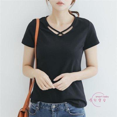 哆啦本鋪 短袖T恤女黑色修身休閒簡約輕熟V領上衣 D655