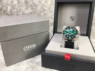 【哈極品】美品《ORIS 豪利時 時間之海 綠水鬼 橡膠錶帶/機械錶/手錶/鋼錶》