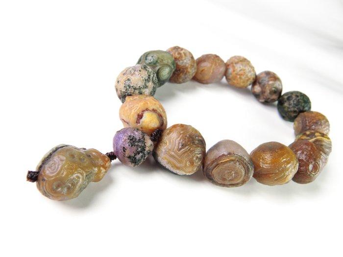 天然戈壁眼石瑪瑙原生態圓珠原石手串  阿拉善瑪瑙 天珠文石