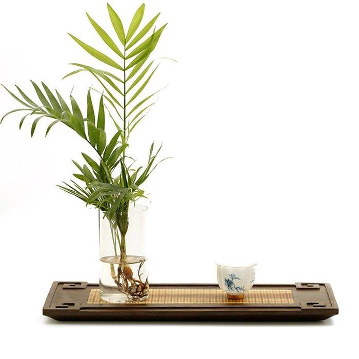 宏美飾品館~中式家用簡約實木茶盤茶道盤干泡功夫茶臺茶具托盤香道檀香爐托盤
