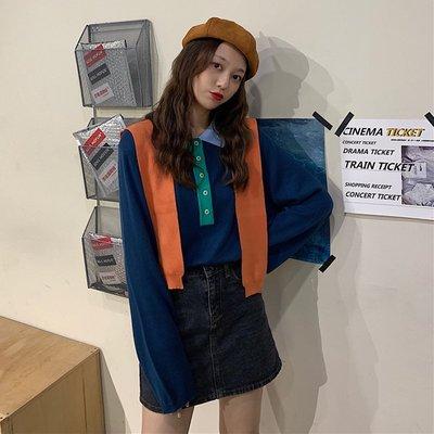 ITS FOCUS女裝 秋裝2019新款設計感撞色套頭POLO領復古法式寬松長袖針織衫女學生