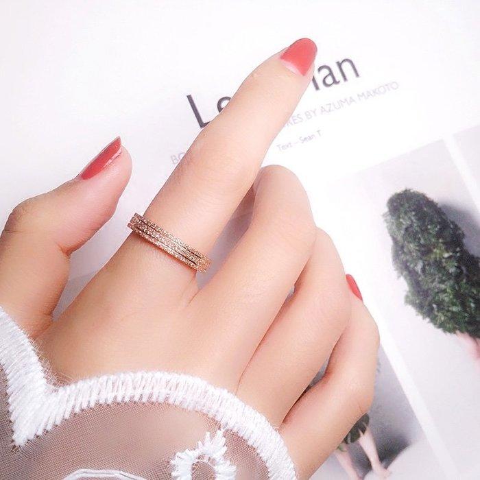 洛克小店韓版時尚鈦鋼鍍18K玫瑰金磨砂三環戒指女食指環尾戒不掉色配飾品