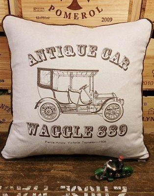 復古車6(F款) 麂皮手工抱枕 : 車 古典 工業風 純手工 抱枕 居家 裝飾 家飾 麂皮 : waggle889