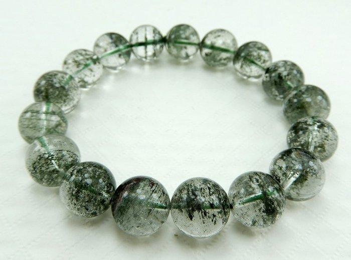 [天祥水晶]~天然綠幽靈手珠手鍊12mm圓珠~