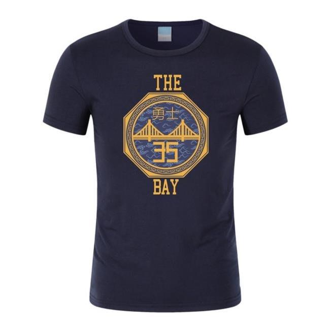萊卡籃球圓領T恤 勇士城市版35號杜蘭特球衣 town