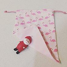 (手作)粉紅紅鶴束口袋 15x19cm