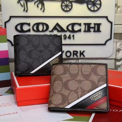 美國正品 COACH 74216 蔻馳真皮短夾 對折式錢包 防刮經典印花C紋Logo撞色拼接款 男女通用