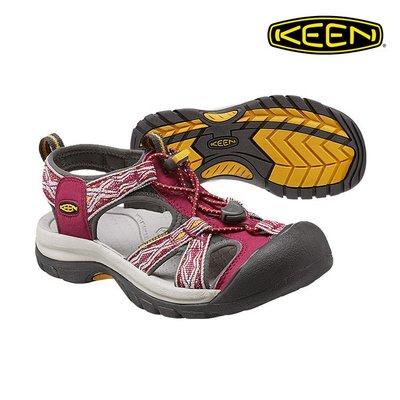 =CodE= KEEN VENICE SANDALS 編織彈性綁繩護趾防水包頭涼鞋(酒紅灰) 1014209 拖鞋 女