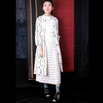 SMACHIC studio 獨立設計師品牌 / 復古散點直條印花七分袖傘型娃娃洋裝襯衫 優雅裝苑chic
