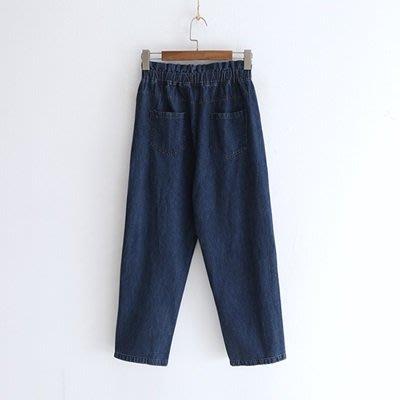 牛仔 褲 直筒 長褲-花邊鬆緊高腰四粒扣女褲子2色73tq42[獨家進口][米蘭精品]