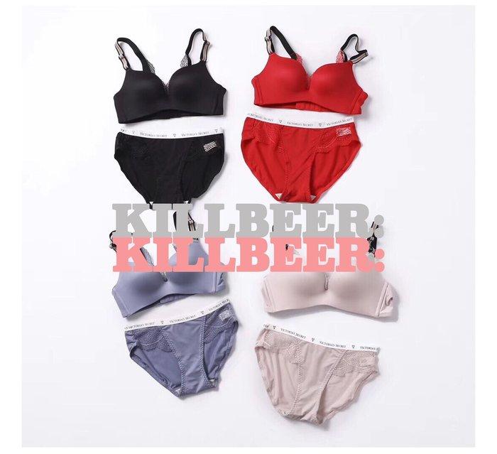 KillBeer:代購✈Victoria's Secret維多利亞的秘密新款撞色亮絲條紋蕾絲美背胸罩內褲套裝061718