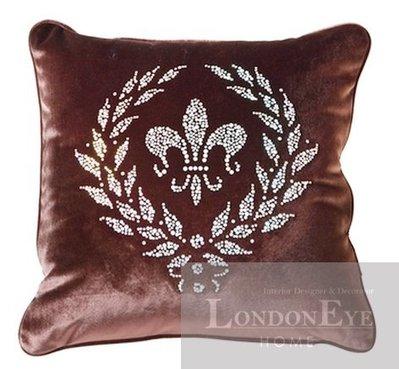 【 LondonEYE 】NeoClassic新古典X奢華織品系列X抱枕套 咖啡絲絨桂冠燙閃鑽 豪宅/人文風格 CN07