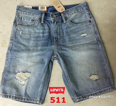 【超搶手】全新正品 美國Levis Skinny Jeans 511 Sunset刷白破洞淺藍窄版牛仔短褲w28~w38