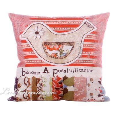 【Creative Home】Heart & Home 心戀家居系列小鳥帆布抱枕 - become a possibilitarian / 靠墊 / 方枕