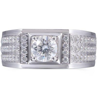 男士2克拉18K白金豪華款鑽戒(莫桑石 摩星鑽 鑽石 裸石) GIA驗證 鑽石品質