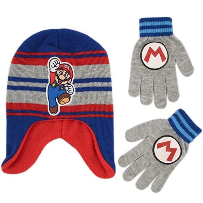 預購 美國帶回 Mario 超級瑪莉歐 童款 毛帽+手套組合 冬季必備
