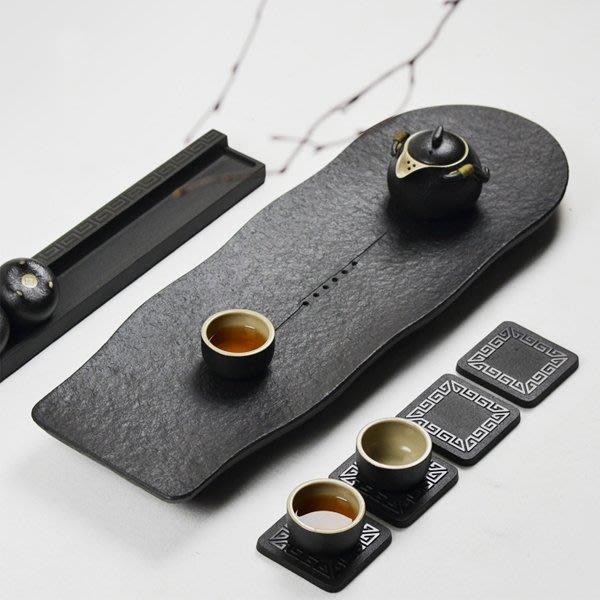 5Cgo【茗道】含稅會員有優惠 525537891205天然石頭茶具套裝烏金石茶盤小號黑金茶海茶壺茶杯茶台50*20cm