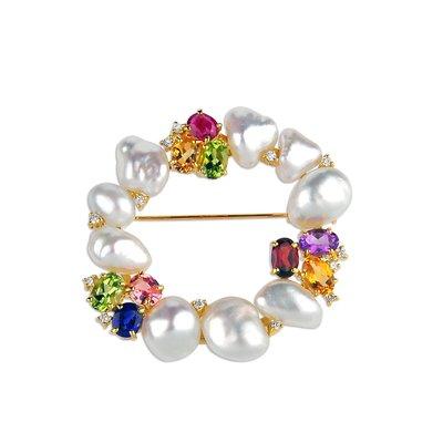 【JHT金宏總珠寶/GIA鑽石專賣】 天然珍珠鑽石胸針/材質:18K(JB50-A04)