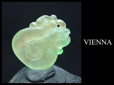 【VIENNA】28/23緬甸玉/玻璃種/甜美蜜綠翡翠精雕福瓜/項鍊/玉墜子R/Q03
