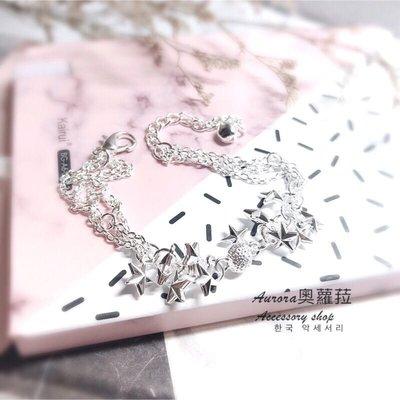 韓國星星O字鏈手鍊《奧蘿菈Aurora韓國飾品》 附 收納袋 拭銀布