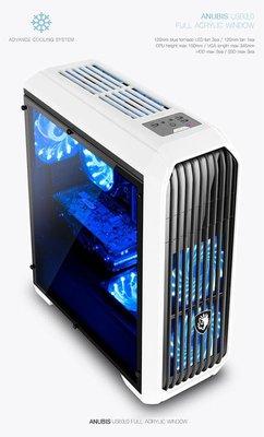 SADES賽德斯 阿努比斯 Anubis (1大6小) 全透側水冷電腦機殼 (黑配白)