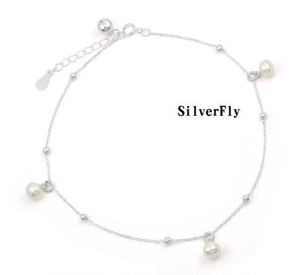 珍珠純銀時尚腳鍊《 SilverFly銀火蟲銀飾 》