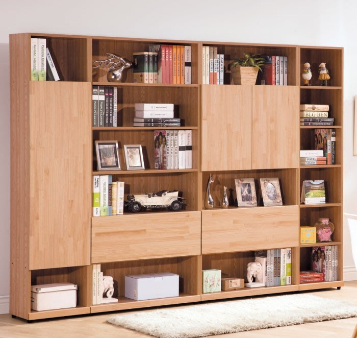 北歐風8尺實木紐西蘭松木書櫃