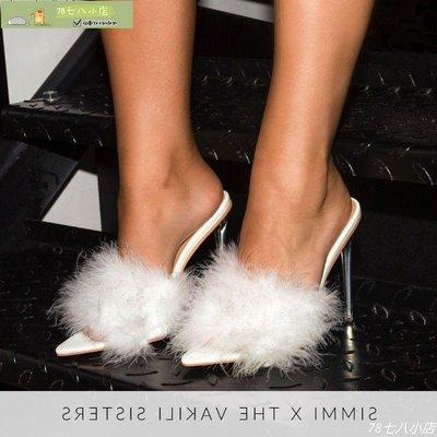 大碼女鞋 高跟涼拖鞋 平底涼鞋Shoppe亞馬遜2020新款網紅毛毛鞋歐美時尚水晶跟高跟女式涼拖鞋-78七八小店9376