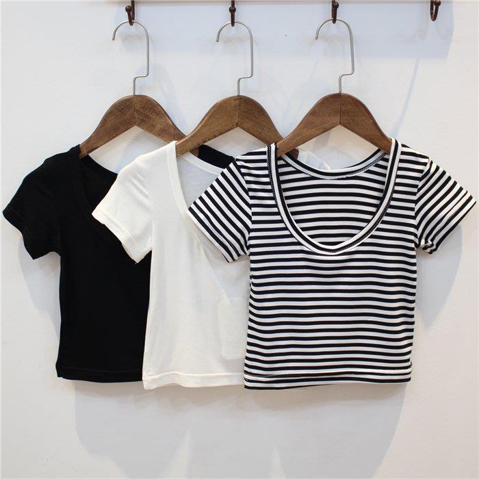 【溜。溜。選物】春夏新款*小童打底衫純色條紋露背短袖T恤