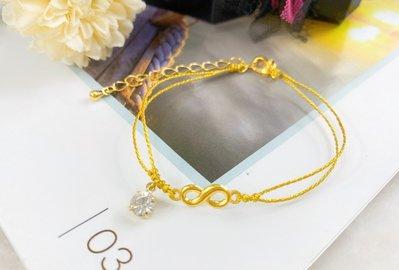 9999 純黃金永恆無限+水晶 金絲繩手鏈