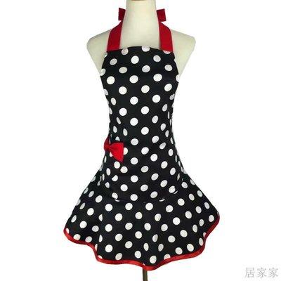 居家家 圍裙純棉大圓點韓版公主美甲美容廚房烘焙紅色蝴蝶結口袋圍腰