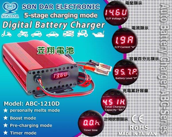 ☼ 台中苙翔電池 ►變電家汽車電池充電器ABC-1210D可充 60038 60044 60011 H3 DIN100