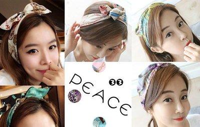 【PEACE33】正韓國空運進口。新款 時尚圖紋圖騰設計印花 色彩布藝可調兔耳朵髮帶/髮圈。現+預
