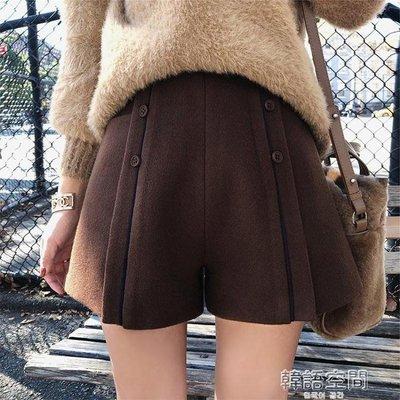 毛呢短褲女秋冬款外穿高腰百搭加厚顯瘦a字闊腿打底褲子2018新款