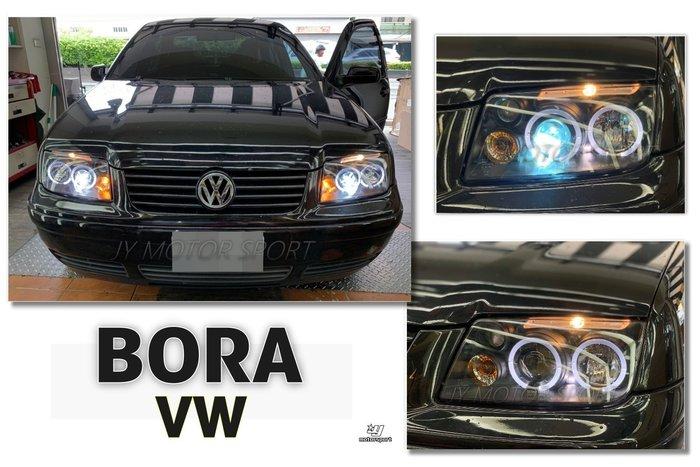 》傑暘國際車身部品《全新VW 福斯 BORA 99-04 LED 光圈魚眼 晶鑽 / 黑底 大燈 內建霧燈 一組4300