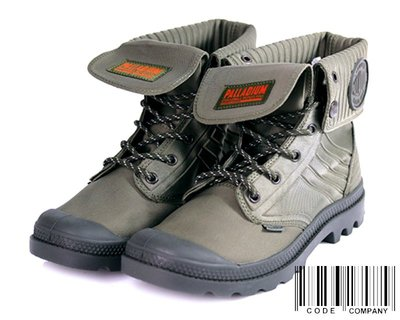 =CodE= PALLADIUM BAGGY AMPHIBIAN 針織尼龍皮革反折軍靴(軍綠) 75986-940 女