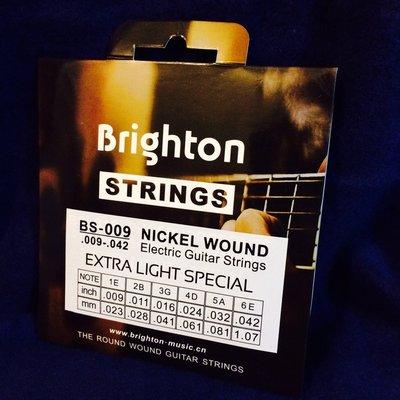 Brighton BS-009, 電吉他琴弦, .009- .042吋, 布萊頓, 鎳弦, 南韓設計